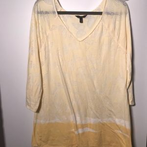 Soma Intimates yellow semi sheer butterfly top L